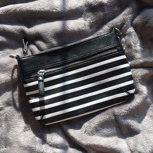 Merona Black and White Striped Wristlet